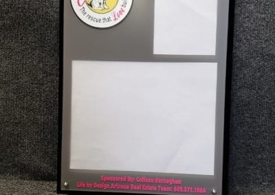 Custom acrylic award with photo holder and standoffs