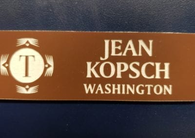 Engraved 1 x 3 with logo name & state