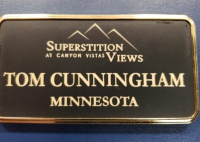 Engraved badge with gold frame 1.5 x 3
